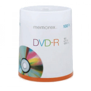 Memorex 05641 4.7GB 16X DVD-R Media 100 Packs Cake Box