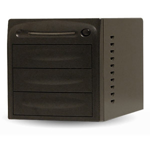 Black Directron 3 Bays Duplicator Case 3Bay-BK, w/ 80W Power Supply, With Only SATA Connectors and 80mm fan.