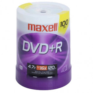Maxell 639016 4.7GB 16X DVD+R Media 100 Packs Spindle