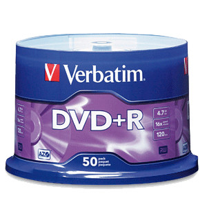 Verbatim 95037 4.7GB 16X DVD+R Media 50 Packs Spindle, Retail