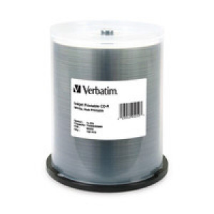 Verbatim 95252 700MB 52X White Inkjet Printable / Hub Printable CD-R Media 100 Packs Spindle.
