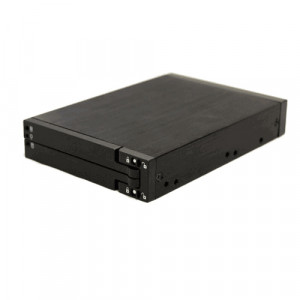 Black Bytecc Snap-In 2.5in SATA Double Hard Drive Mobile Rack, Fit Standard 3.5in Drive Bay, P/N: BT-M240-BK