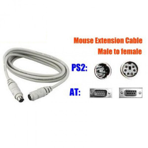 10 Foot Mouse/Keyboard Extension Cable, Male-to-Female, PS2