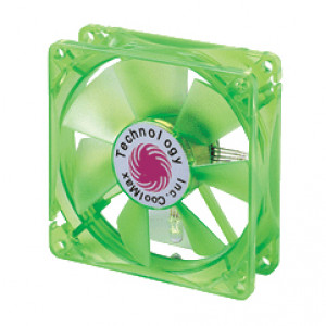 Green Coolmax 80mm UV Crystal LED Cooling Fan