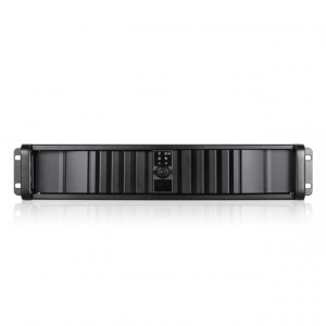 Black iStarUSA 2U Compact Stylish Rackmount Chassis with SEA Bezel, 2x 5.25in Bays, 1x 80mm Fan, P/N: D-200SEA-BK.