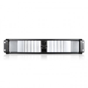 Black/Silver iStarUSA 2U Compact Stylish Rackmount Chassis with SEA Bezel, 2x 5.25in Bays, 1x 80mm F