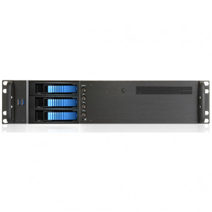 Black iStarUSA 2U Compact Rackmount MicroATX Computer Case, 3 x 3.5in Bays, Front USB 3.0, w/ 1 x 80mm Fan, Model: D-230HB-T-BLUE.