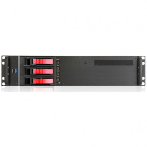 Black iStarUSA 2U Compact Rackmount MicroATX Computer Case, 3 x 3.5in Bays, Front USB 3.0, w/ 1 x 80mm Fan, Model: D-230HB-T-RED.