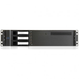 Black iStarUSA 2U Compact Rackmount MicroATX Computer Case, 3 x 3.5in Bays, Front USB 3.0, w/ 1 x 80