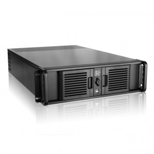 Black iStarUSA 3U High Performance Rackmount Chassis D-300L-PFS, 2 x 5.25in Bays, EATX Motherboard Support, Removable Air Filter, w/ 4x 80mm Cooling Fan.