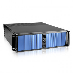 Black/Blue iStarUSA 3U Compact Stylish Rackmount Chassis with SEA Bezel, 4x 5.25in Bays, 1x 60mm Fan, P/N: D-300SEA.