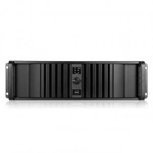 Black iStarUSA 3U Compact Stylish Rackmount Chassis with SEA Bezel, 4x 5.25in Bays, 1x 60mm Fan, P/N: D-300SEA-BK.