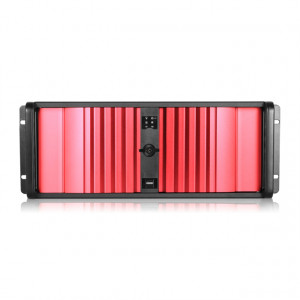 Black/Red iStarUSA 4U Compact Stylish Rackmount Chassis with SEA Bezel, 4x 5.25in Bays, P/N: D-400SE