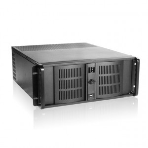 Black iStarUSA 4U 14 Slots Industrial PC Rackmount Chassis D-414, 4 x 5.25-in Bays, Patented Aluminum Front Panel with Locks, Removable Air Filter, 1 x 120mm Cooling Fan.