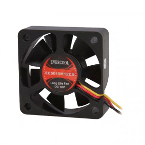Black EVERCOOL 50mm 12V 3-pin Ball Bearing DC Fan, Sleeve Bearing. Model: EC5015M12CA