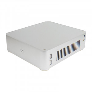 Habey EMC-610S Slim Mini ITX Aluminum HTPC/Nas/Server PC Case, with 12V DC Power Supply, Silver