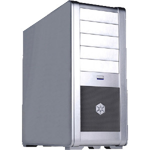 Silver SilverStone Fortress SST-FT01S Aluminum ATX Mid-Tower Uni-body Computer Case, w/ CP05.