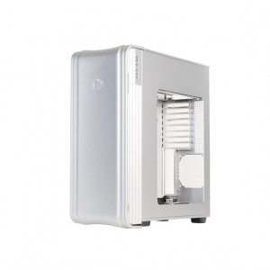Silver SilverStone Fortress Series FT04S-W Extended ATX Aluminum Full Tower Computer Case, Front USB 3.0, 2 External 5.25in Bays, Side Window, w/ 2 x 180mm Fans.