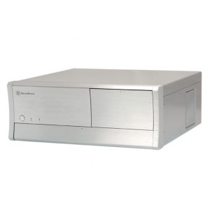 Silver SilverStone Grandia GD01 Aluminum/SECC Desktop/HTPC Case, w/ Multimedia, Card Reader and 80mm