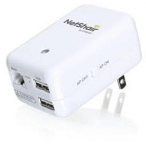 Iogear NetShair Link Portable Wireless Router with USB Media Hub