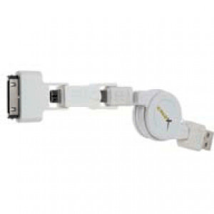GoldX 3-in-1 Retractable Apple Sync/MicroUSB/Mini USB to USB Cable