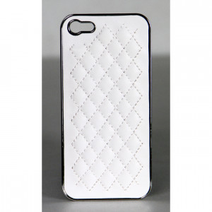 Logisys White Deluxe PU Leather Chrome Hard Back iPhone 5/5s Case