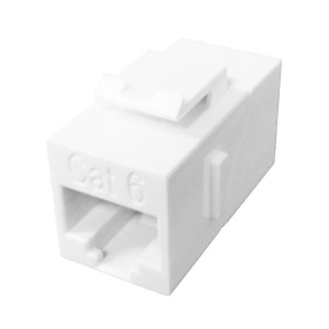Primus Cable K65-2538-CJ-WH CAT6 Inline Coupler, Unshielded, Snap-In w/Latch, White