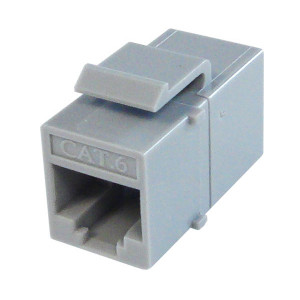 Primus Cable K65-4182-CJ-GY CAT6 Inline Coupler, Unshielded, Snap-In w/Latch, Gray