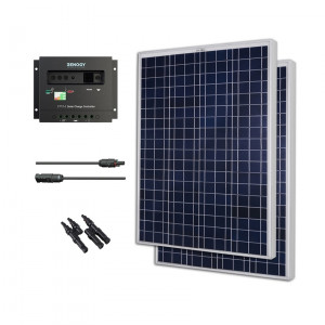 Renogy KIT-BUNDLE200P 200W Polycrystalline Bundle: 2X 100W Polycrystallines Solar Panels + PWM 30A Charge Controller + MC4 Adapter Kit + MC4 Branch Connector.