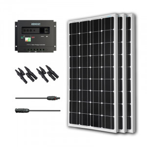 Renogy KIT-BUNDLE300D 300W Monocrystalline Bundle: 3X 100W Monocrystalline Solar Panels + PWM 30A Charge Controller + MC4 Adapter Kit + 2X MC4 Branch Connector.