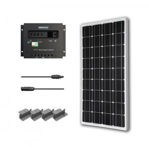 Renogy KIT-STARTER100D 100W Monocrystalline Starter Kit: 100W Monocrystalline Solar Panel + PWM 30A