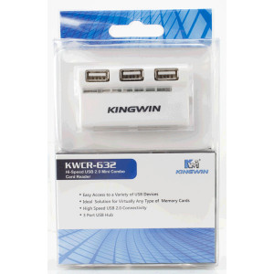 Kingwin Hi-Speed USB 2.0 Mini Combo Card Reader, 3-Port USB Hub, Model: KWCR-632