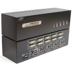 Linkskey 4-Port Dual Monitor DVI/DVI KVM Switch LDV-DM704AUSK