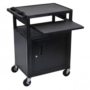Computer furniture for pcs desktop computers and more directron quick view black luxor 34in lp series table with cabinet pull out front laptop shelf workwithnaturefo