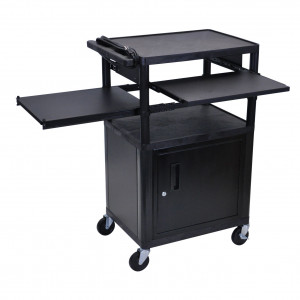 Black Luxor 42in LP Series Table with Cabinet, Pull-out Front Laptop and Side Shelves, Model: LP42CLPE-B.
