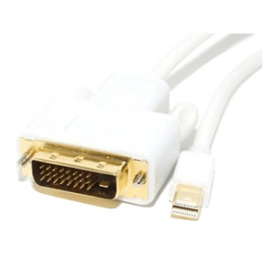 MRP MDPDVI-3MM 3ft Mini Display Port Male to DVI Male Cable, 32AWG, White