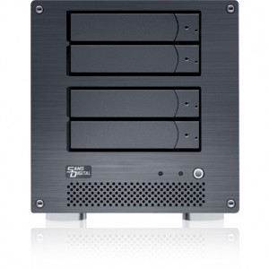 Black Sans Digital MobileNAS MN4L+B2G Linux NAS + iSCSI 4 Bays Network Storage Server Tower.