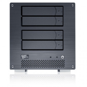 Black Sans Digital MobileNAS MN4L+B Linux NAS + iSCSI 4 Bays Network Storage Server Tower.
