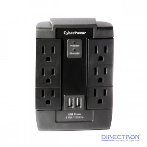 CyberPower P600WSU Home Office 8 Outlets Surge, 6 Swivel Outlets Surge, 2 USB Ports, 1200J