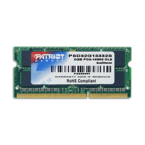 Patriot Signature 2GB DDR3 PC3-10600 (1333MHz) SODIMM Laptop Memory