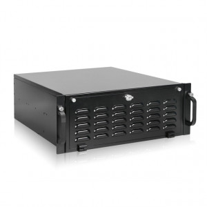 Black iStarUSA RG-4104H 4U Rugged Rackmount Chassis, 1x 5.25in Bay, 4x 3.5in Hotswap Bays, 1x 5.25in Slim Bay, with 2x USB 2.0 and 4 x 80mm Fans.