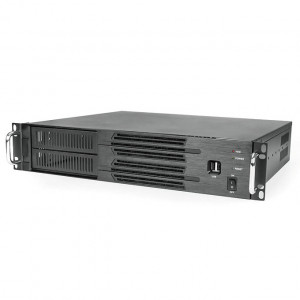 Athena Power RM-2U200H608 Aluminum / Steel 2U Rackmount Server Case (Black), Front USB2.0, 600W 80 PLUS Bronze PSU, 2x 5.25in External Drive Bays, 2x 80mm Fans. OEM