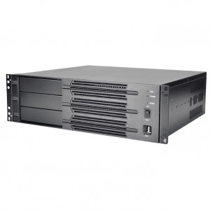 Athena Power RM-3U300P608 Aluminum / Steel 3U Rackmount Server Case (Black), 600W Micro PS3 Power Supply, 3x 5.25in Drive Bays, 3x 80mm Fans, Front USB2.0.