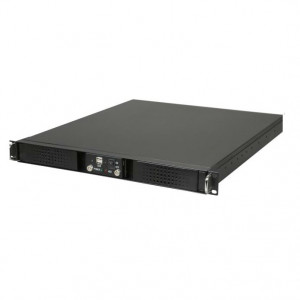 Athena Power RM-DD1U12A408 1.2mm Steel 1U Rackmount Server Case (Black), 2 x 5.25in External Bay & D