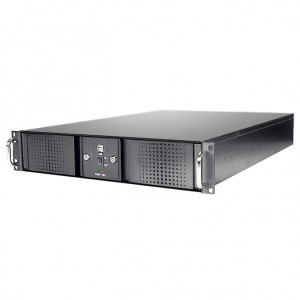 Athena Power RM-DD2U24E4082 Aluminum / Steel 2U Rackmount Server Case (Black), Front USB2.0, w/ 400W