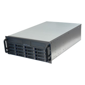 Norco RPC-4216 4U Rackmount Server Case with 16x 3.5-inch Hot-Swappable SATA/SAS Drive Bays and 2x 5.25-inch Drive Brackets.