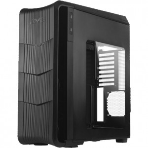 Black SilverStone RAVEN Series RV04B-W ATX Full Tower Computer Case, 2x 5.25in Bays, Side Window, Front USB 3.0, w/ 2x 180mm AP181 Fans.