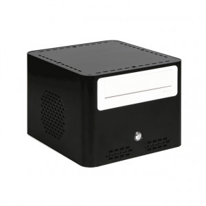 Black iStarUSA S-0512-DT Compact Stylish Mini-ITX Enclosure, 1 x 5.25in Bay, w/ 120W PSU.