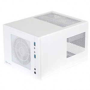 White SilverStone Sugo Series SG05W-USB3.0 Mini-ITX Desktop Computer Cube Case, w/ SFX 300W Power Supply and 120mm Front Fan.
