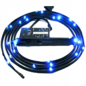 NZXT 2M Blue Sleeved LED Kit, 3-Step Light Sensitivity, Model: CB-LED20-BU